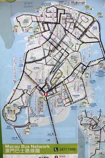 Macau Bus Network map