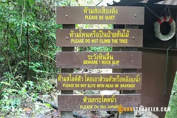 Rules at Erawan Falls Park