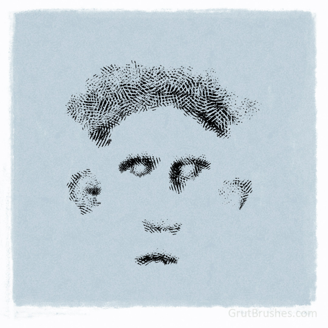 drawn with the 'cave in' Photoshop cross hatching brush brush