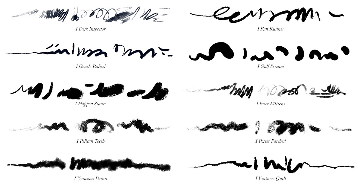 Brush Stroke samples drawn using the 10 Photoshop ink brushes in the Inks 01 set