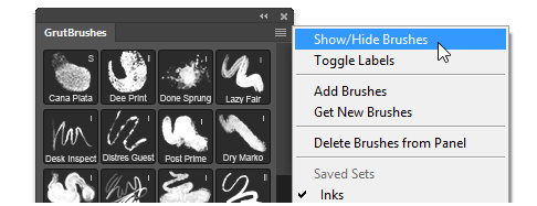 Choose which brushes appear in each set