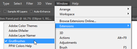 where to find the GrutBrushes plugin in Photoshop
