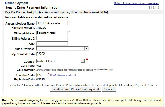 Credit Card Payment - authorization to use credit card