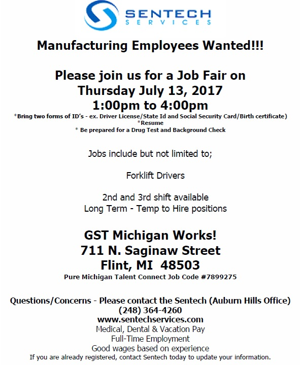 Sentech Services Hiring Event \u2013 GST Michigan Works - michigan works resume