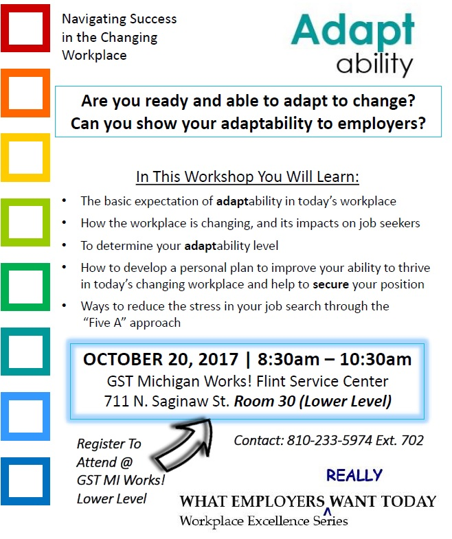 AdaptAbility \u2013 Workplace Excellence Workshop \u2013 GST Michigan Works