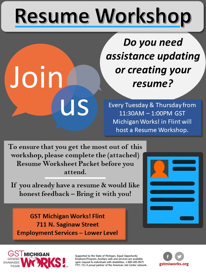 Resume Workshop \u2013 GST Michigan Works