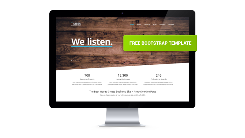 Timber \u2013 Free One Page Bootstrap Template GT3 Themes - bootstrap one page template
