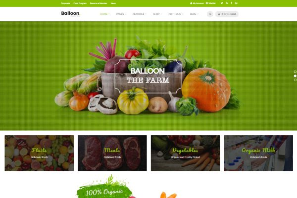 Organic Food and Farming WordPress Themes for September 2017 GT3