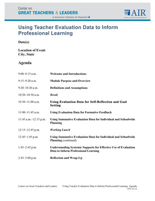 Using Teacher Evaluation Data to Inform Professional Learning
