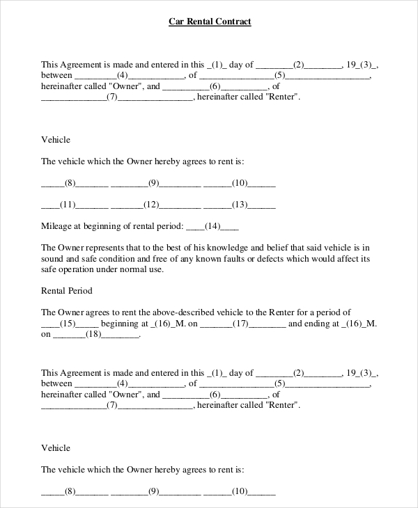 Car Rental Agreement Form gtld world congress - Car Rental Agent Sample Resume