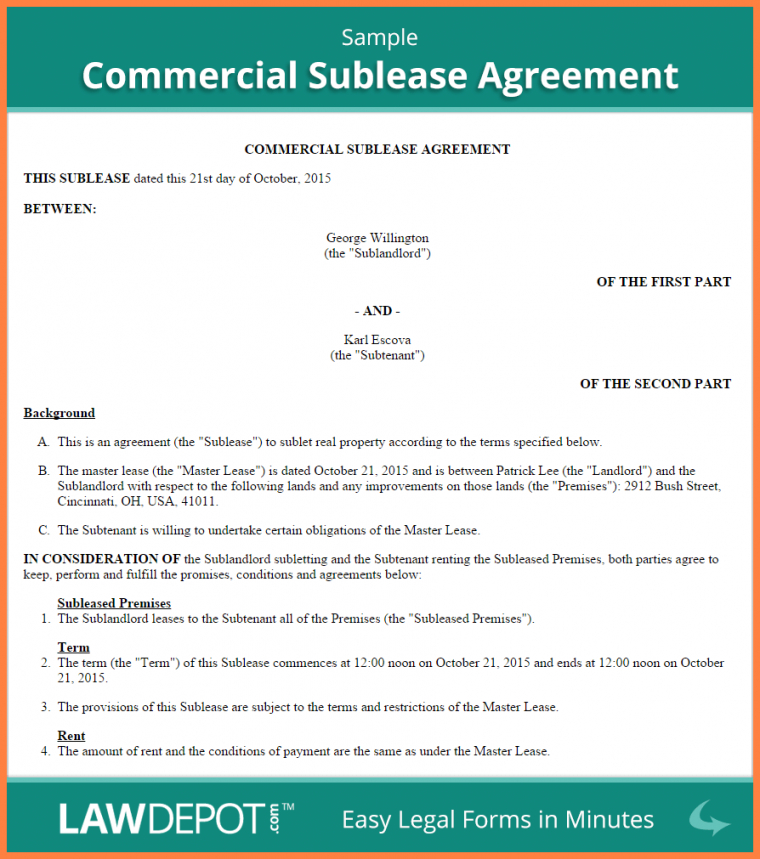 Commercial Sublease Agreement gtld world congress
