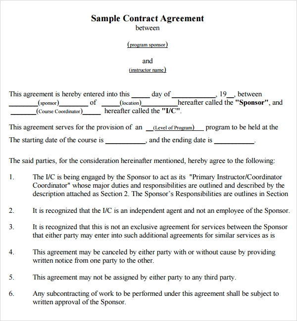 Contract Agreement Template Between gtld world congress