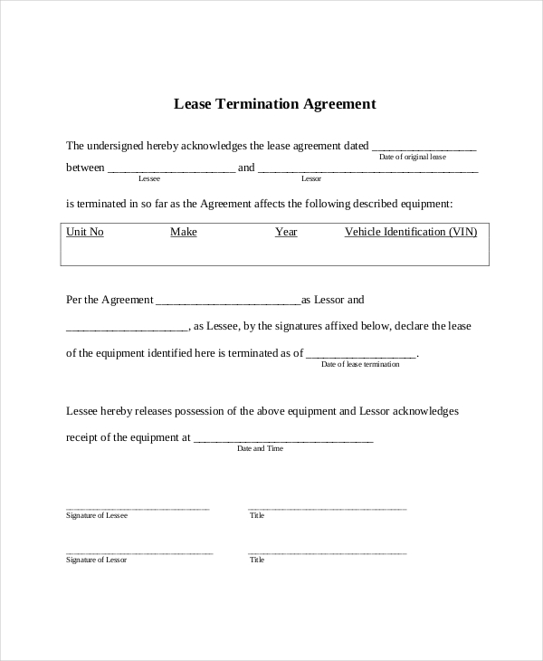 End of lease agreement template