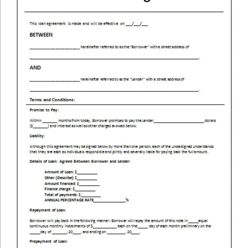 Personal Loan Agreement Doc gtld world congress - free loan template