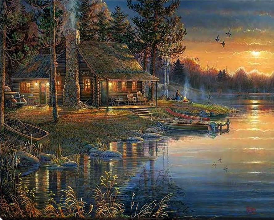 Fall Cabin The Woods Wallpaper 28 187 Dipinti Con Tema