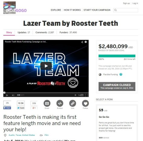 Film Lazer Team (Indiegogo)