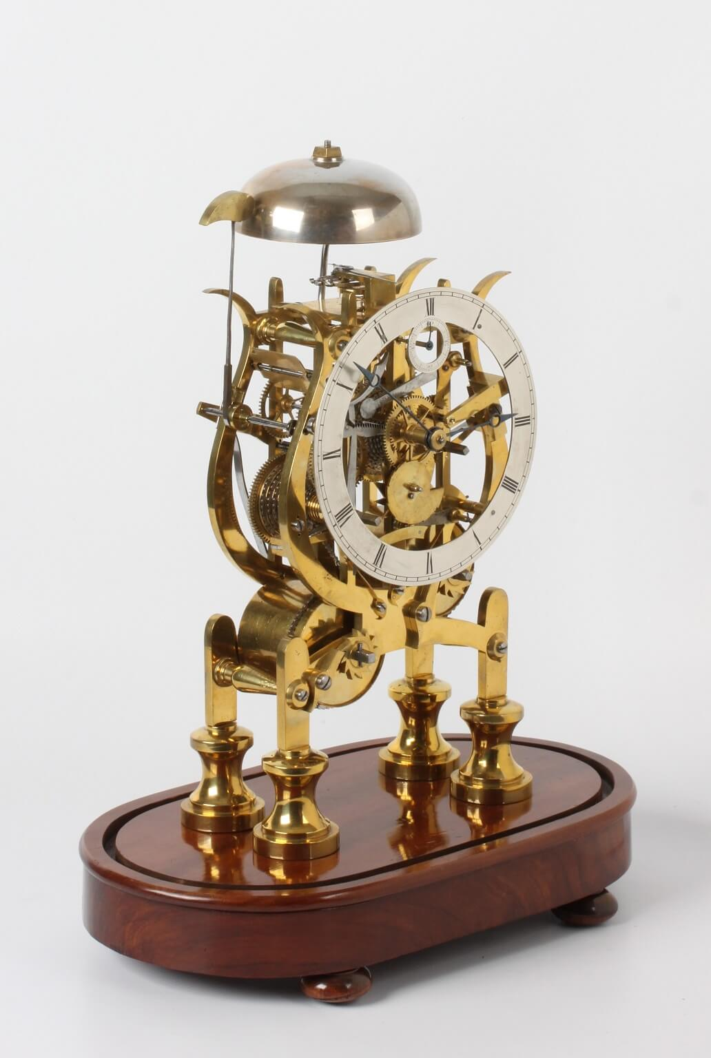 Glass Dome With Base An English Brass Lyre-shaped Skeleton Clock, Dent's, Circa