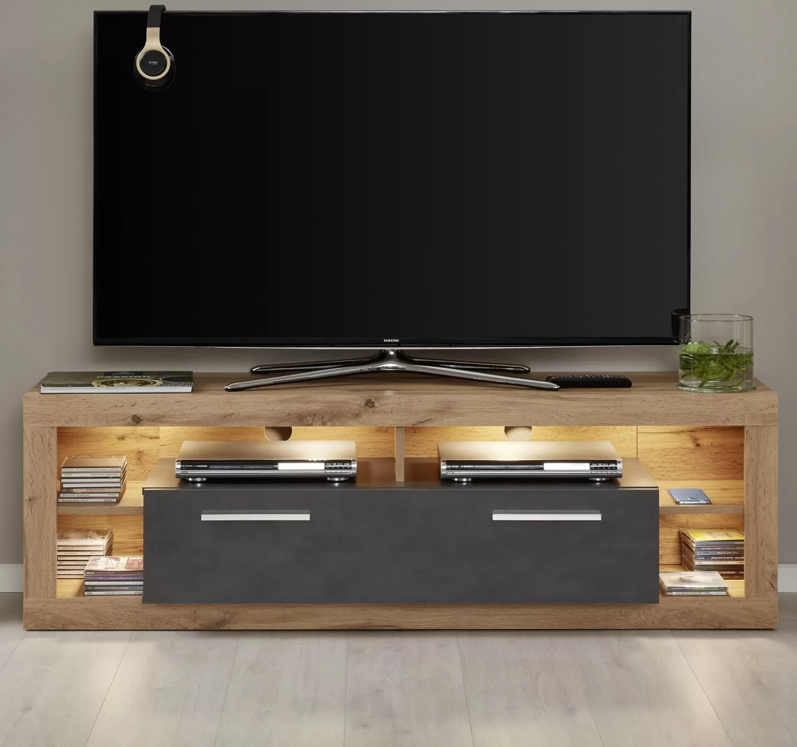 Tv Lowboard Anthrazit Tv Lowboard Rock In Matera Anthrazit Und Wotan Eiche Tv Unterteil 150 X 48 Cm