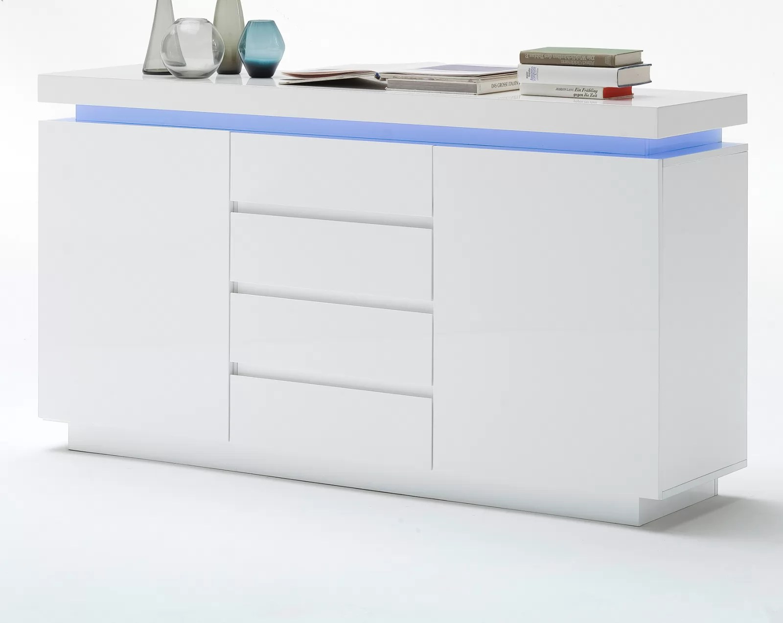 Kommode Led Sideboard Ocean In Hochglanz Weiß Echt Lack Kommode Inkl Led Beleuchtung Mit Farbwechsel 150 X 81 Cm