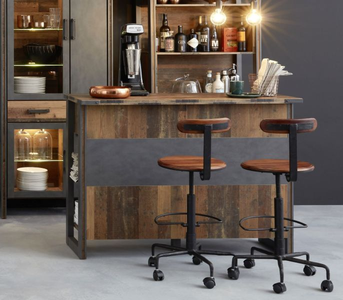 Bartresen Edelstahl Bar Prime In Old Used Wood Design Mit Matera Grau Barregal Shabby 140 X 105 Cm Bartresen