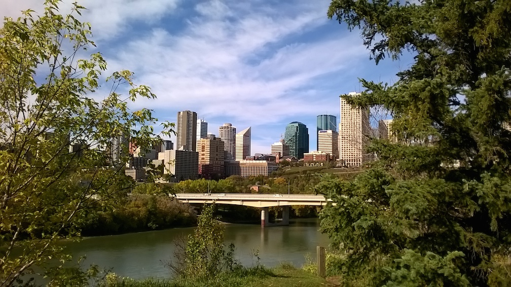 Edmonton from the river side. September 2015. Photographer Nicola Ashmore.