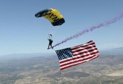 Parachute american flag smoke