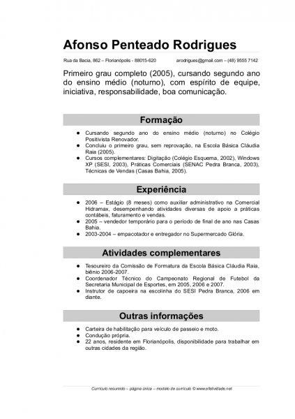 CURRICULUM VITAE SIMPLES PARA PREENCHER E IMPRIMIR  Avaré - Guia