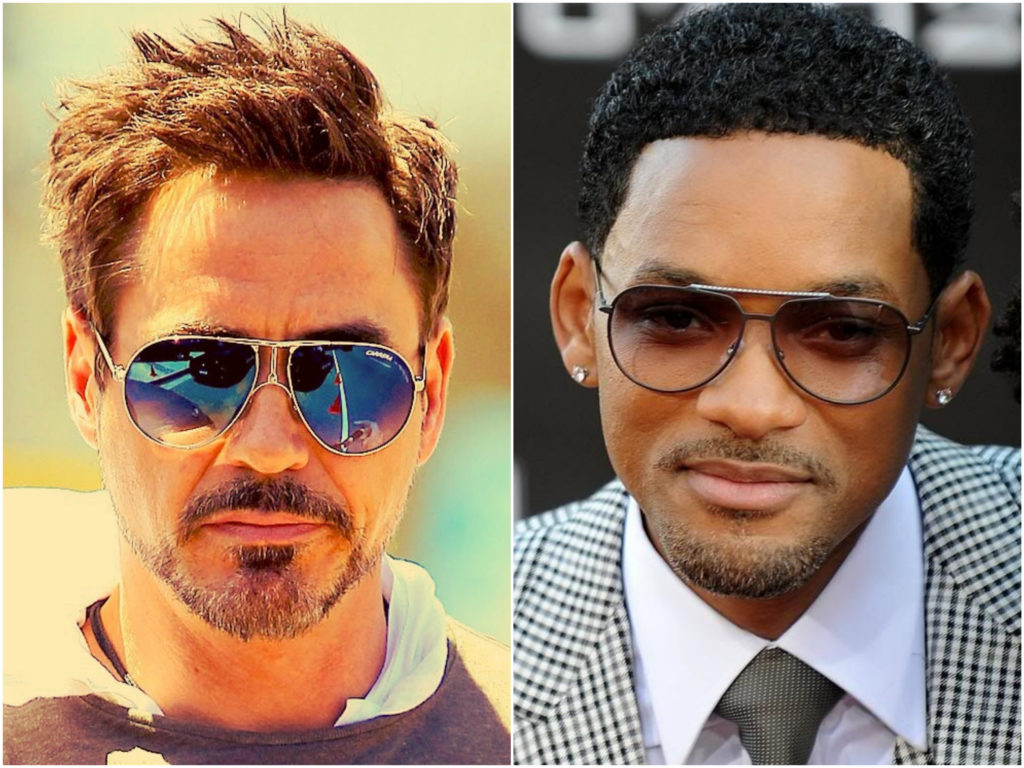 Óculos modelo aviador masculino Robert Downay e Will Smith