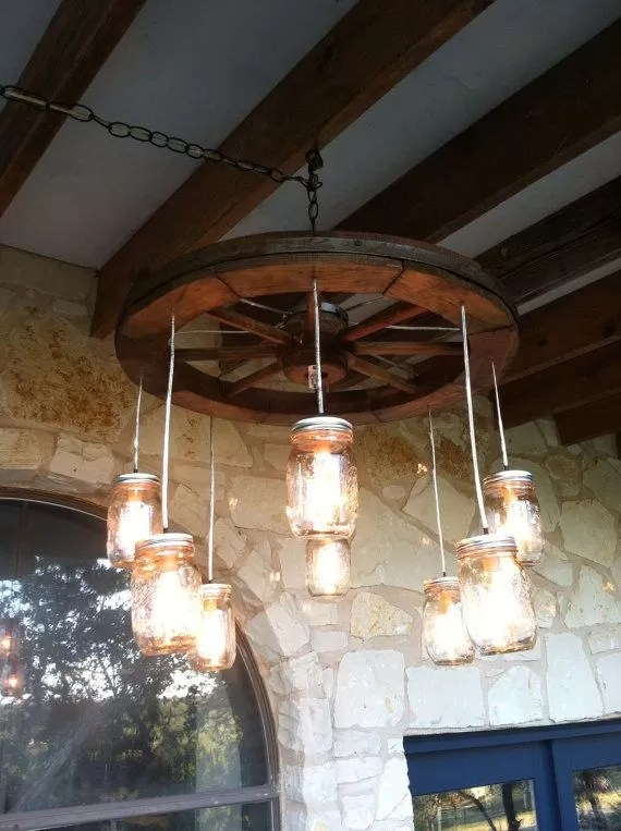 Wagon Wheel Chandelier 18 Diy Mason Jar Chandelier Ideas | Guide Patterns