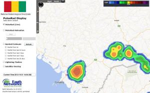 Very intense storms have developed betwen Conakry and Mamou.