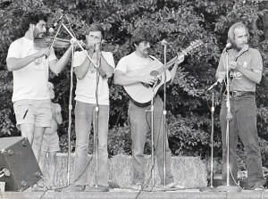 Hurricane Ridgerunners at a Summer Gig - L to R: Armin Barnett, Mark Graham, Jerry Gallaher, Paul Kotapish