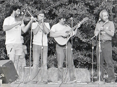 Hurricane Ridgerunners at a Summer Gig - L to R: Armin Barnett, Mark Graham, Jerry Gallaher, Paul Kotapish
