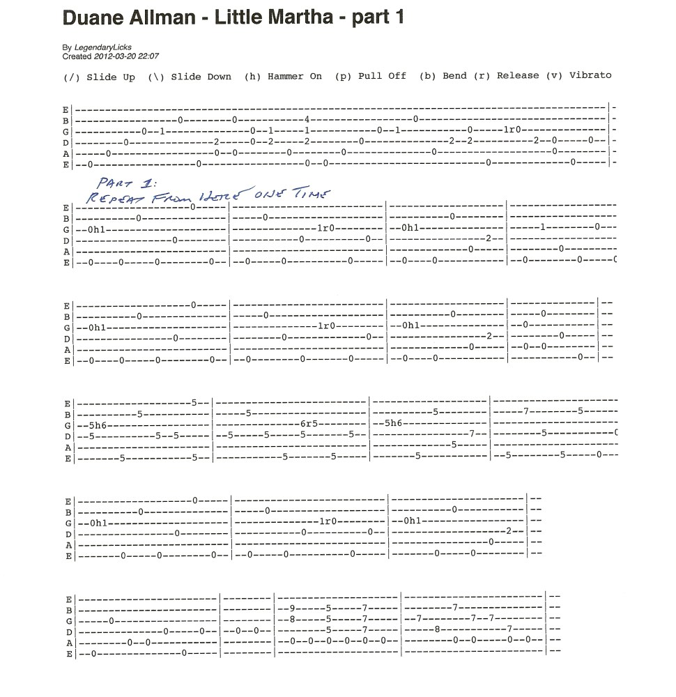 Duane Allman - Little Martha - guitar tablature included (1/6)