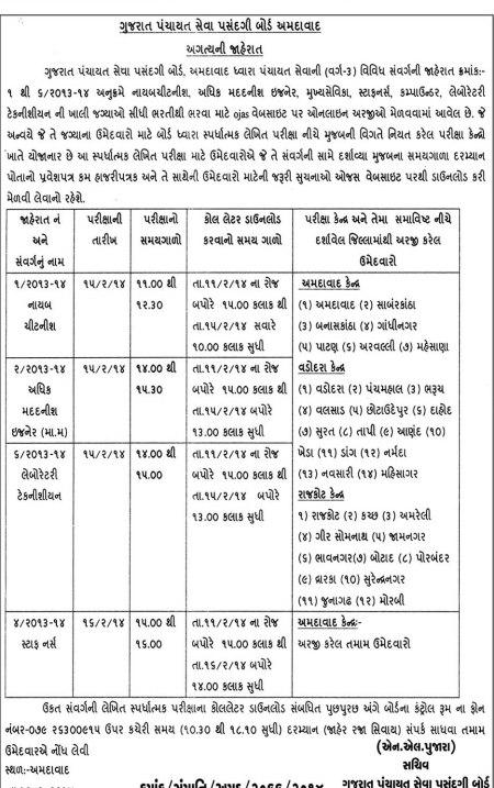 Gujarat Panchayat Seva Pasandgi Board Exam Call Letter Notification