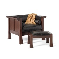 Maria Yee Cambria Chair & Ottoman, Black Leather | Gump's