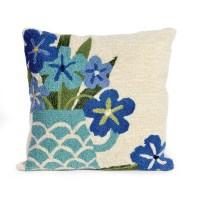 Balboa Indoor/Outdoor Collection Blue Floral Pillow | Gump's