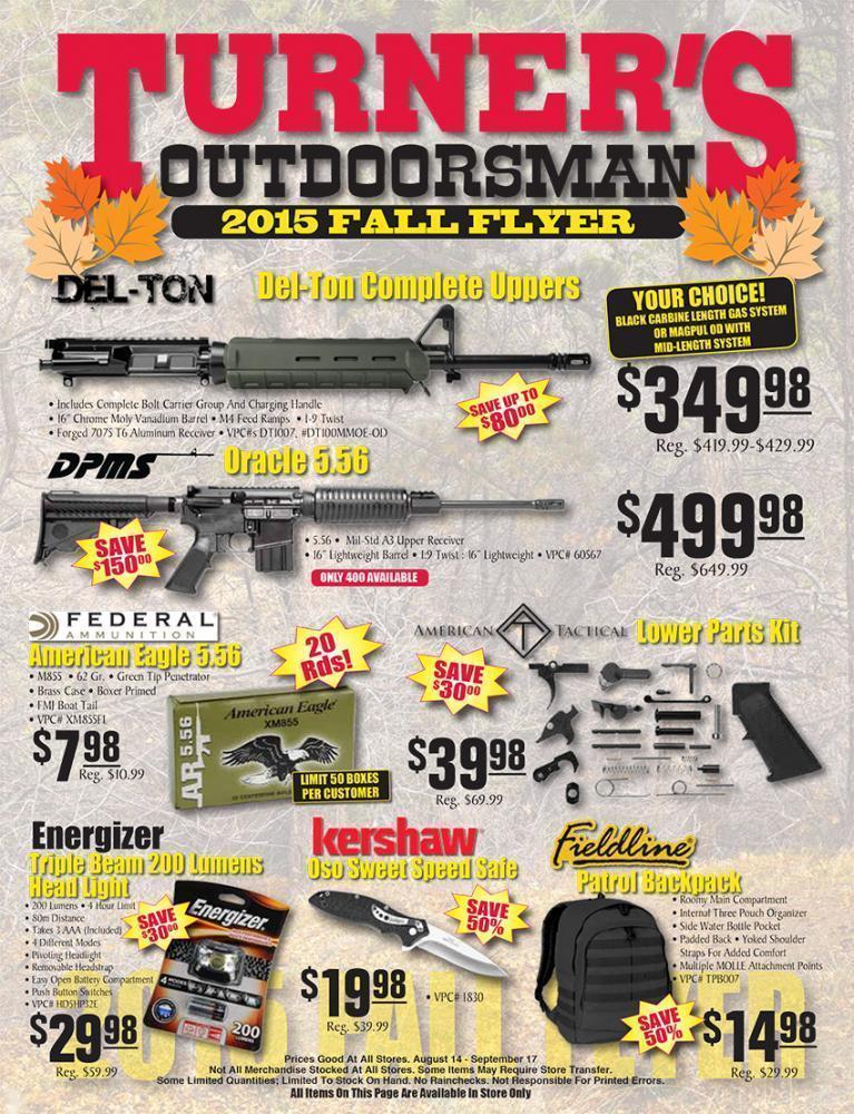 Turner\u0027s Outdoorsman 2015 Fall Flyer gundeals