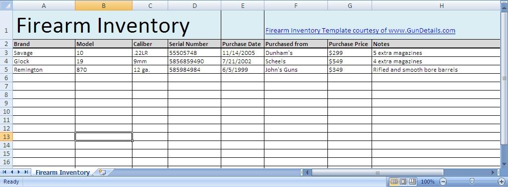 Free Gun Inventory Spreadsheet - Gun Details - free inventory sheets to print