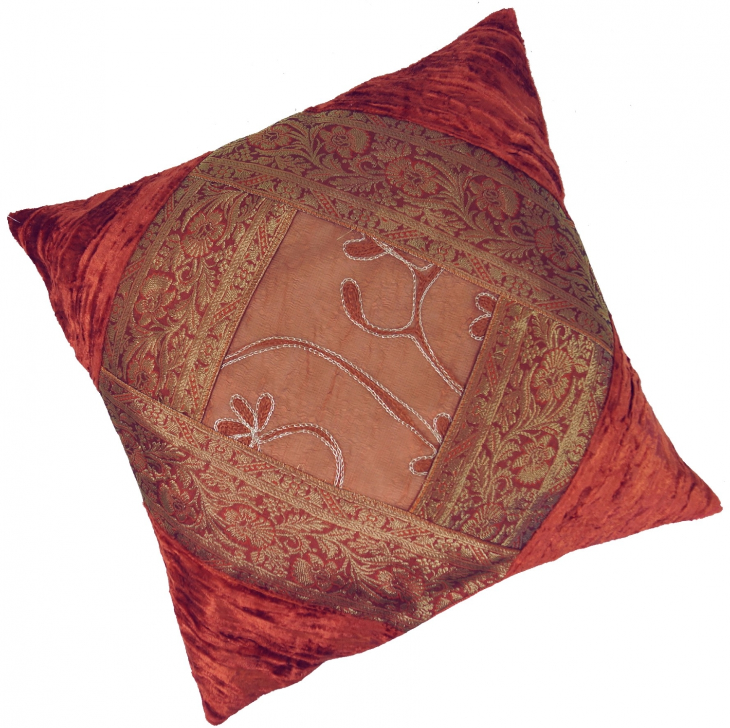 Kissen Orange Oriental Velvet Brocade Cushion Cover Cushion Cover Decorative Cushion 40 40 Cm Rust Orange