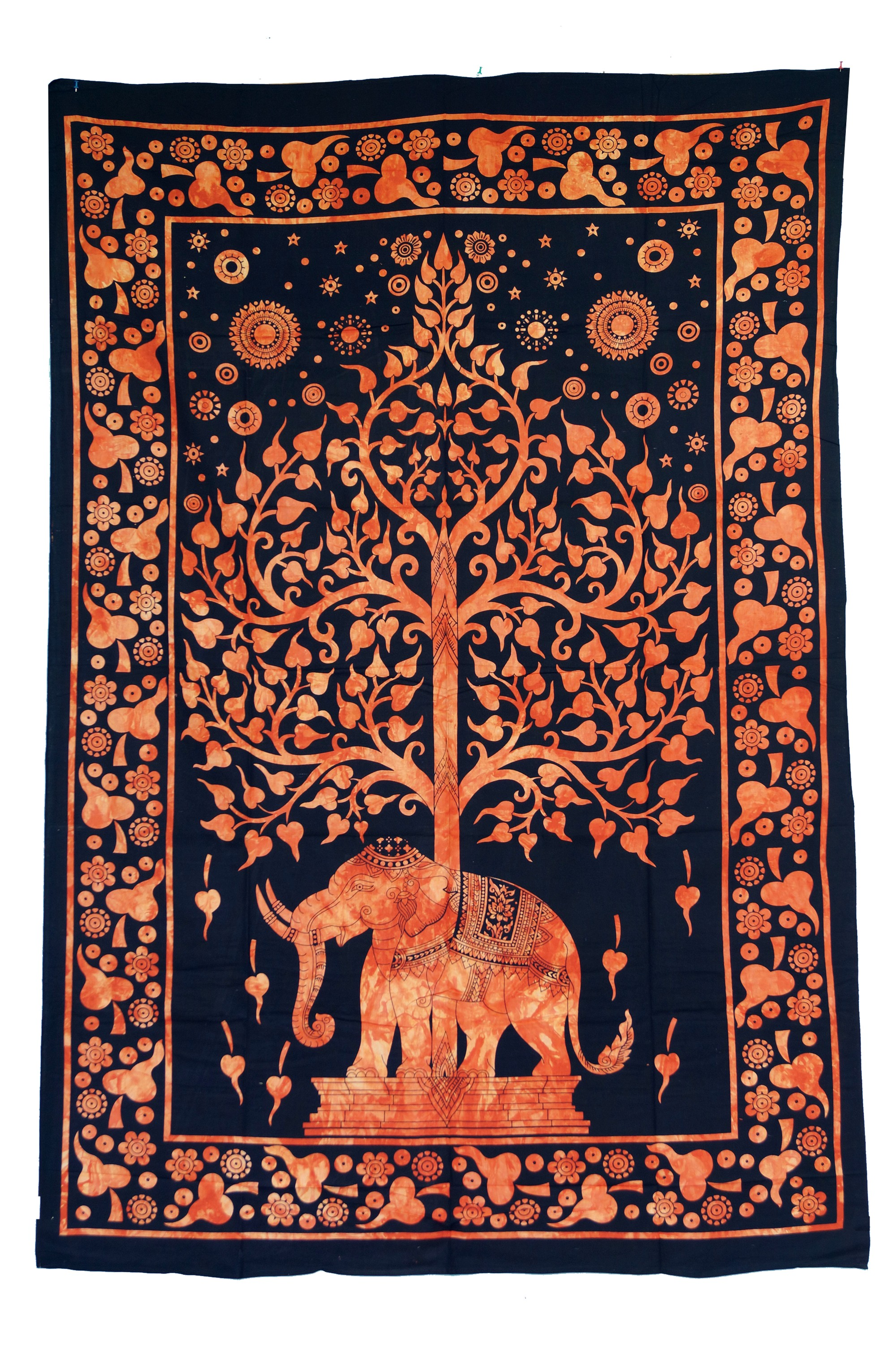 Tagesdecke Elefant Indisches Wandtuch Batik Tagesdecke Tree Of Life Elefant