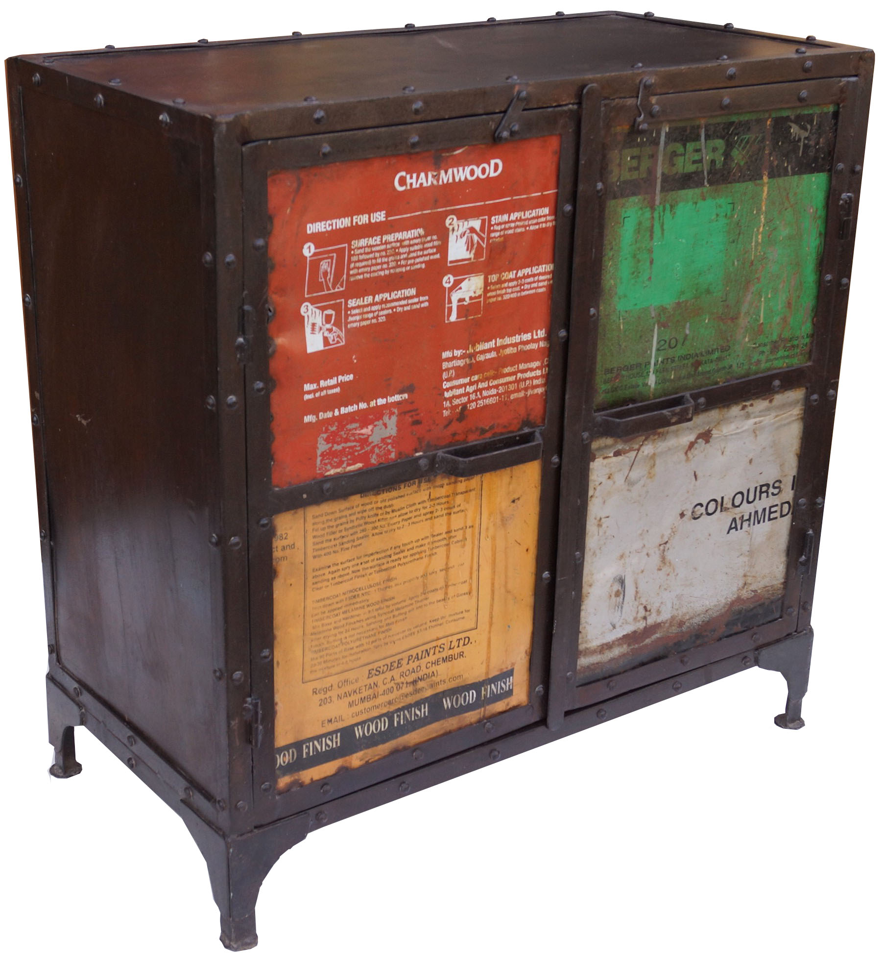 Tv Lowboard Industriedesign Metal Cabinet With Old Metal Plates In Industrial Design Model 4