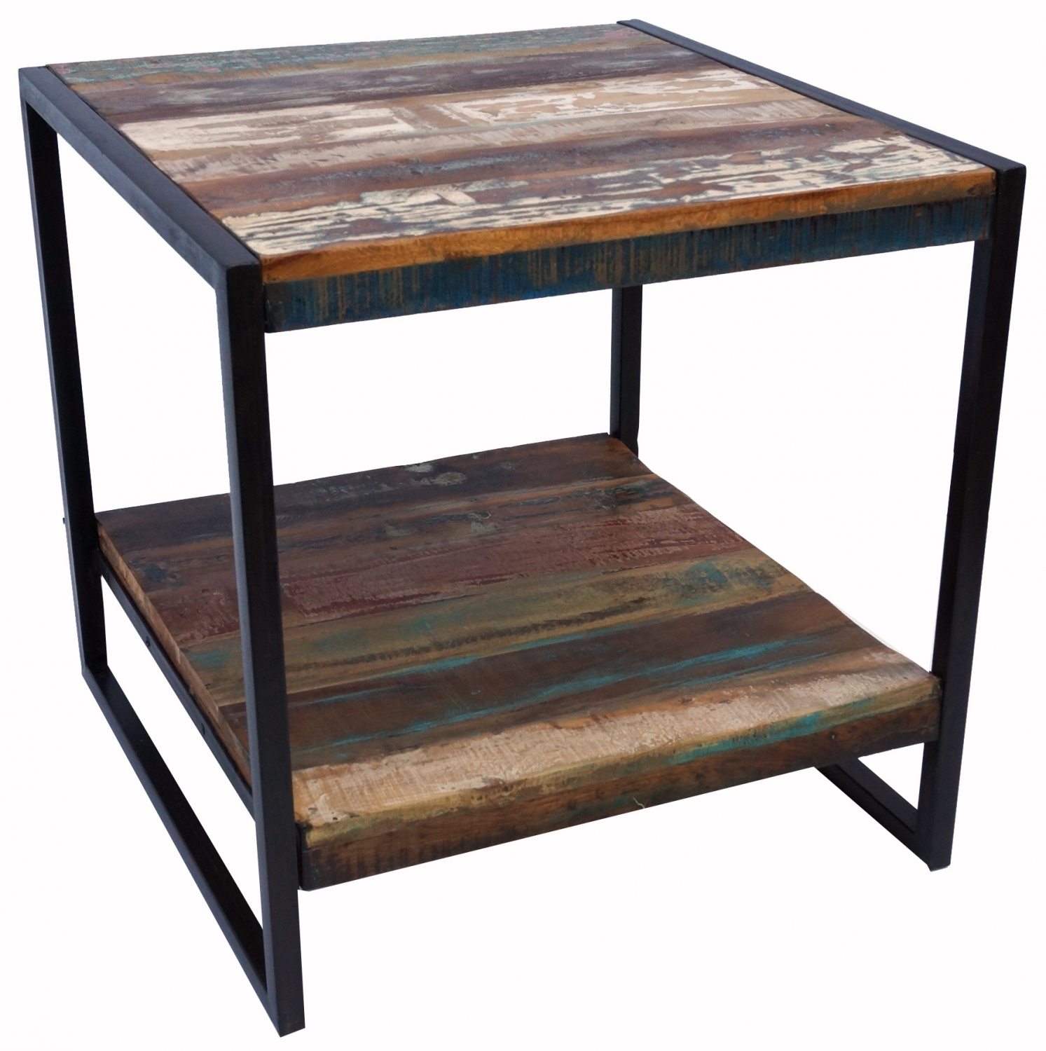 Retro Beistelltisch Vintage Side Table Metal Bedside Table And Recycled Wood Model 1 60x60x60 Cm