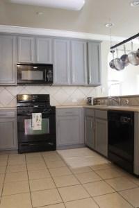Grey Cabinets Black Appliances Kitchen   gusto & grace