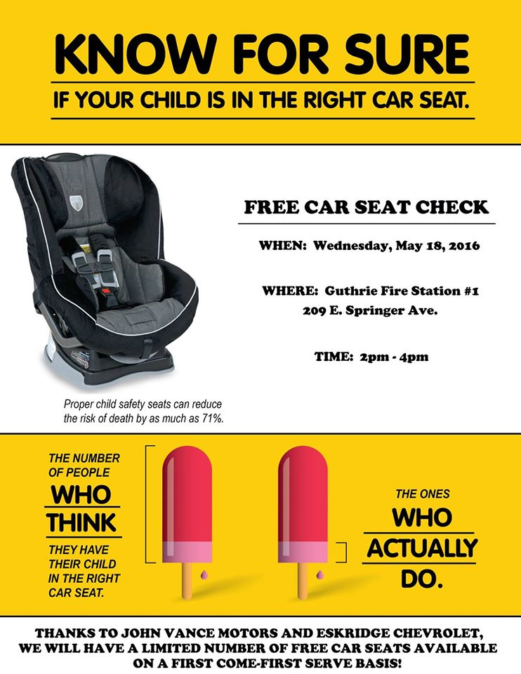 free car seat check at guthrie fire department guthrie news page. Black Bedroom Furniture Sets. Home Design Ideas