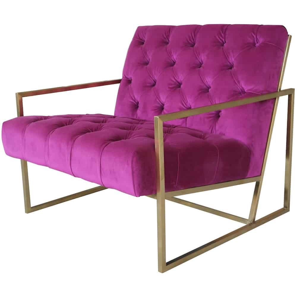 Samt Sessel Loungesessel Club Velvet Cyclam Gold