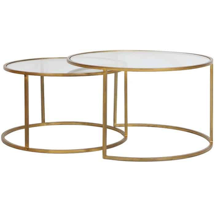 Couchtisch Light Living Duarte Gold Glas 2er Set Rund