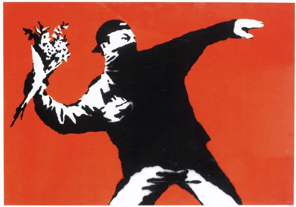 Love is in the Air, Flower Thrower by Banksy (Red) - Guy Hepner