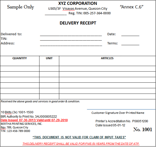 Sales Invoice And Official Receipt – Sample of Official Receipt Form
