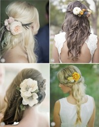 Wedding hairstyles for long hair with flowers