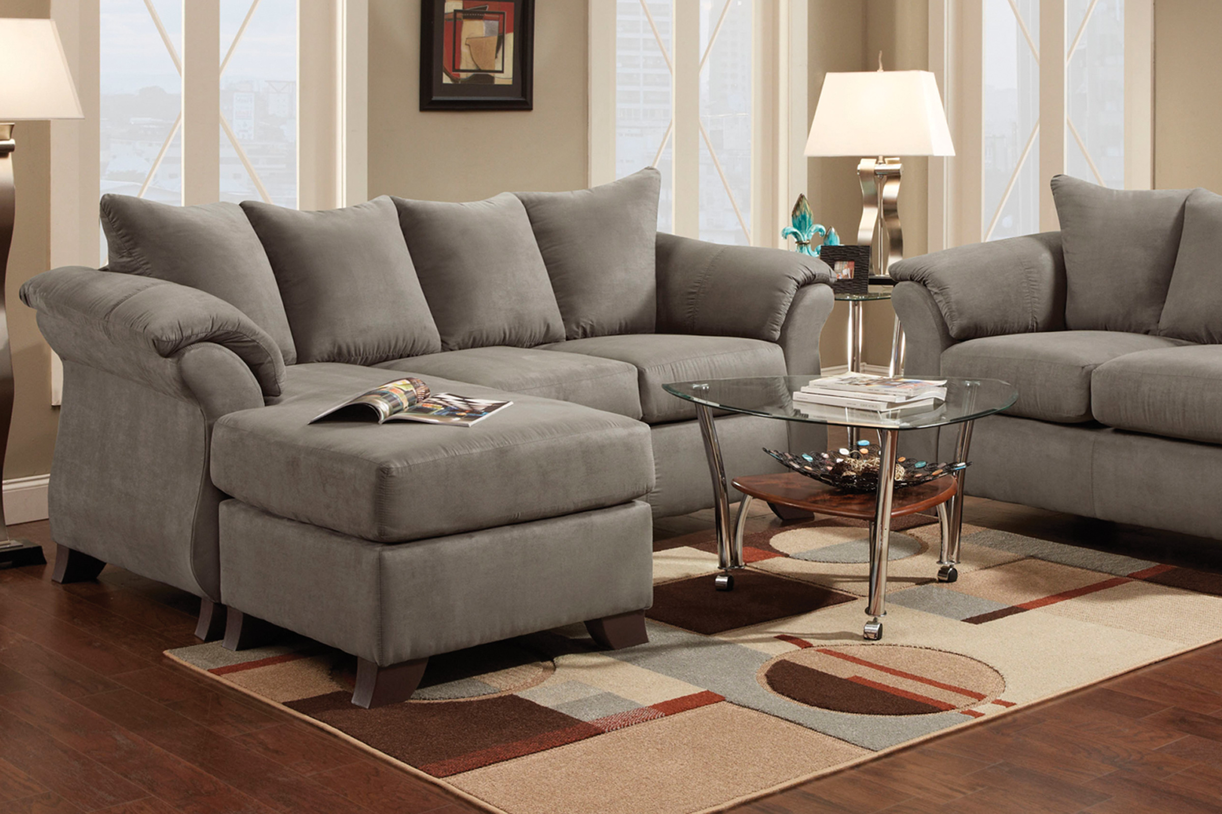 Upton Microfiber Sofa With Floating Ottoman At Gardner White